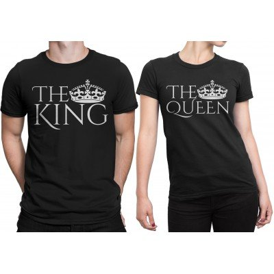 The King and The Queen Half Sleeves Couple Tshirt Set