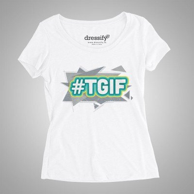 TGIF Womens Half-Sleeves Cotton T-shirt