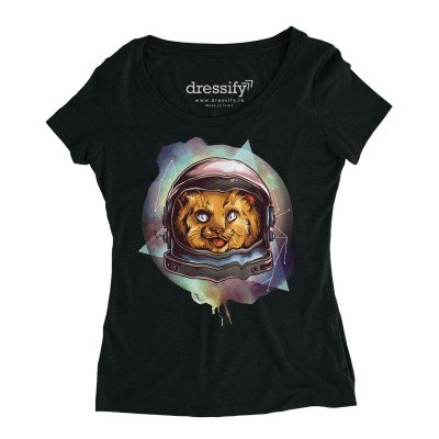 Cosmic Kitty Women's Half Sleeve Tshirt